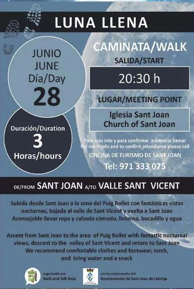Guided Tour full moon from Sant Joan to Sant Vicent