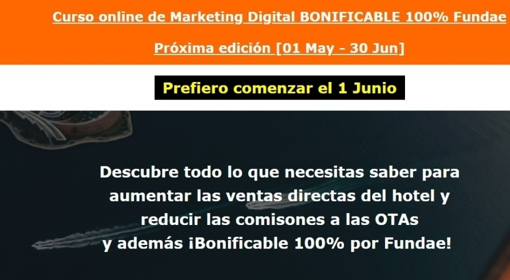 Curso online de Marketing Digital BONIFICABLE 100% Fundae
